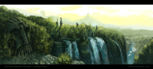 Jungle Ruins with waterfall