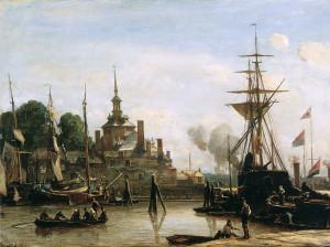 Jongkind-Johan-Barthold-View-on-harbour-Rotterdam-Sun