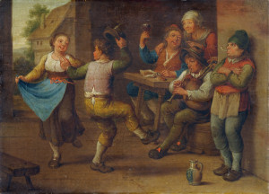 """Feiernde Bauern"" (""Celebrating Peasants""), artist unknown, 18th or 19th century"