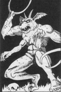 A Glabrezu type demon as illustrated in the 1E AD&D Monster Manual